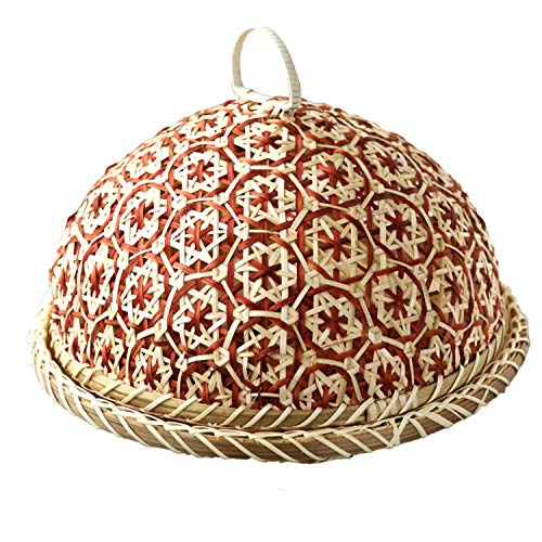 SODIAL Handmade Bamboo Food Fruit Wicker Rattan Straw Basket Bread With Lid Round Plate Kitchen Storage Bread Organizer Natural Health