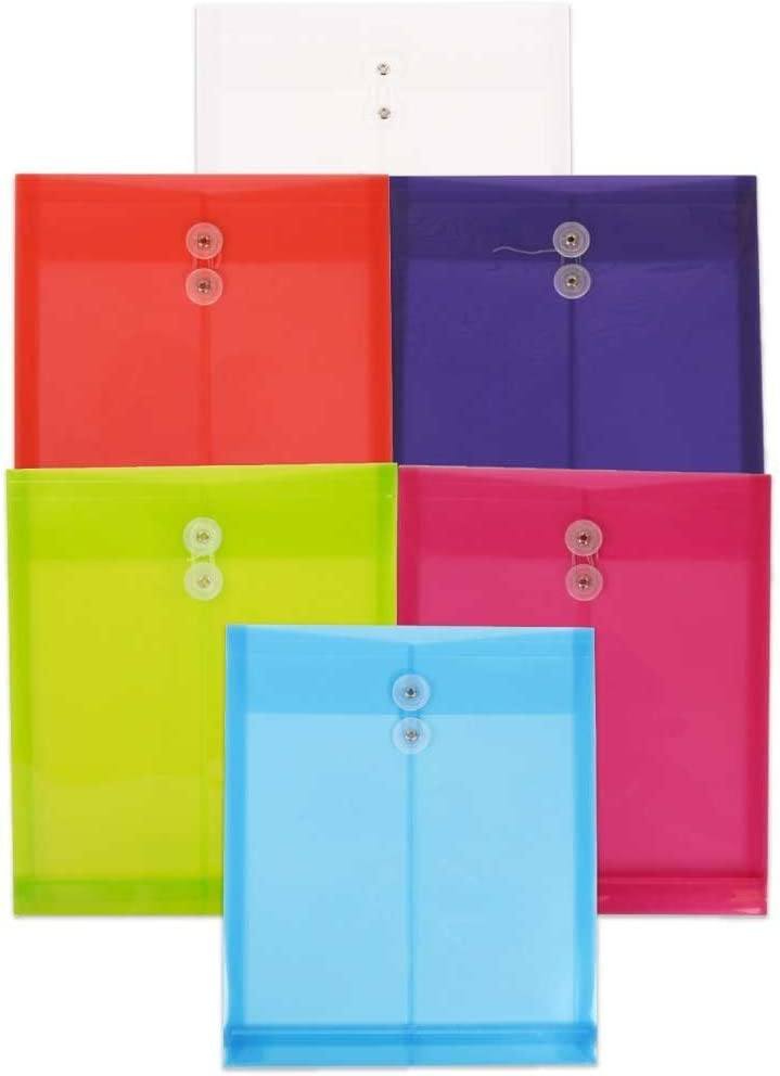 JAM PAPER Plastic Envelopes with Button & String Tie Closure - Letter Open End - 9 3/4 x 11 3/4 - Assorted Colors - 6/Pack