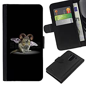 Be-Star la tarjeta de Crédito Slots PU Funda de cuero Monedero caso cubierta de piel Para LG G3 ( Rodent Bat Horns Fictional Creature Biotechnology )