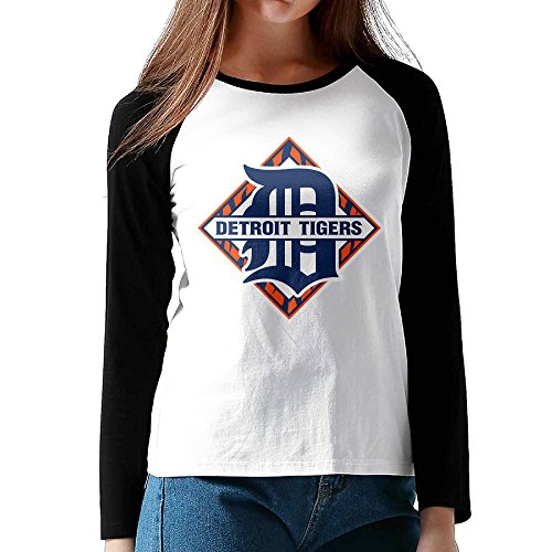 XJBD Women's Detroit Team Long Baseball Shirt Size M