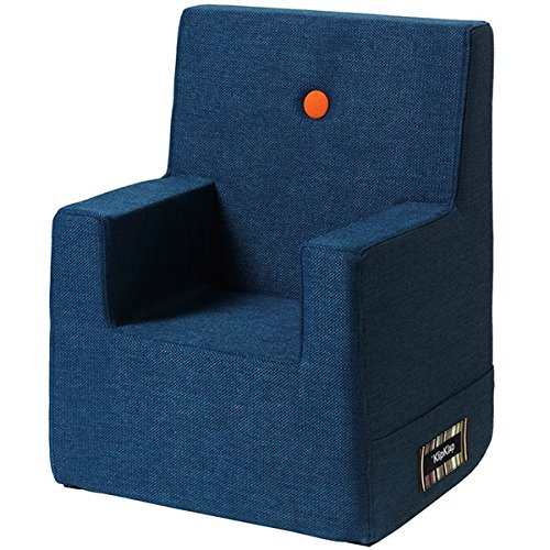 by KlipKlap Kids Chair XL - Dark Grey with Orange Button
