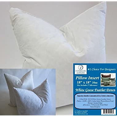 2 Pillow Inserts: 18 x18  35oz. 90/10 White Goose Feather Down - 2  Oversized & Firm Filled (Actual Size: 20 x20 )