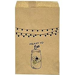"Wedding Favor Bag - Thank You- Rustic - Mason Jar - Bee - Candy Bar – Treat Table – Candy Buffet - 9.25"" x 6.25"" Brown Kraft Bags – (20 pack)"