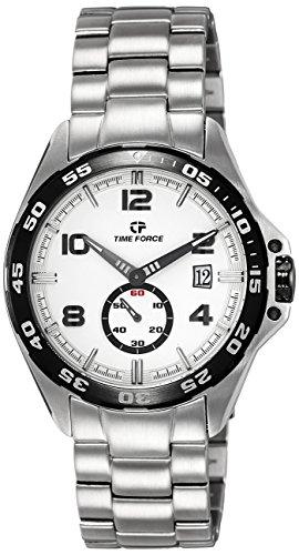 Timeforce TF3327M02M 45mm Silver Steel Bracelet & Case Mineral Men's Watch