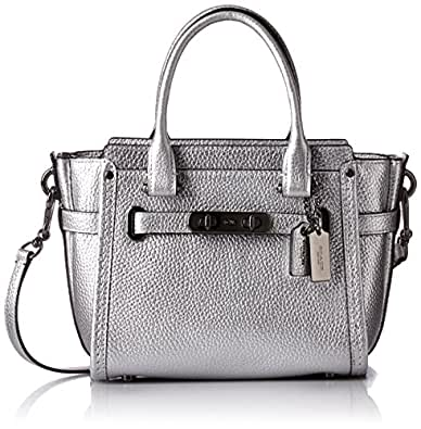 Coach Swagger 21 Women's Pebbled Leather Satchel, DK/Silver