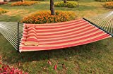 Best Sunshine Hammock Quilted Fabric with Pillow for Two Person, Double Size Spreader Bar Heavy Duty Stylish for Outdoor Garden Patio, 450lbs Capacity (red)