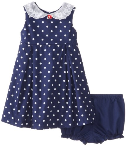 Laura Ashley London Baby-Girls Infant Dotted Peter Pan Collar Dress, Blue, 18 Months