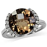 5.23ct. Natural Smoky Quartz & Topaz White Gold Plated 925 Sterling Silver Cocktail Ring