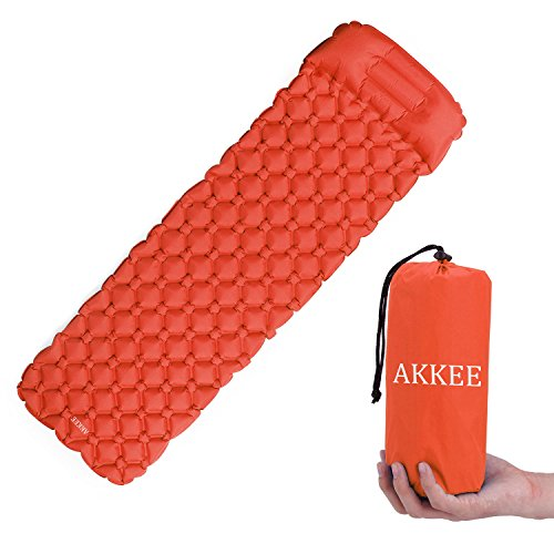 AKKEE Ultralight Air Sleeping Pad Inflatable Camping Mat with Integrated Pillow for Sleeping Bag, Hammock and Tent,for Backpacking, Outing, Traveling and Hiking, Comfortable Air Camp Mattress Orange