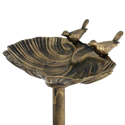 Wicuas&Associates Pair Birdbath Sitting Pedestal Bird Bath Antique Gold Rustic Finish Lightweight Durable Outdoor Garden Decor