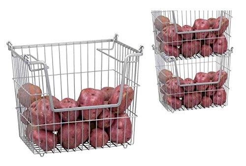Home Basics Stackable Metal Pantry Organizer Basket Space Saving Home, Kitchen Office Storage Bin Solution Set of 3