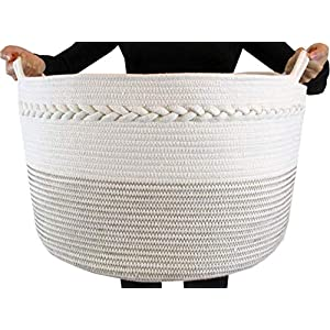 "Cotton Rope Storage Basket, Premium Decorative Woven Basket Great as Laundry Basket, Blanket Basket, Laundry Hamper, Kids & Dogs Toy Storage, Toy Bin, XXL20""X13.5"""