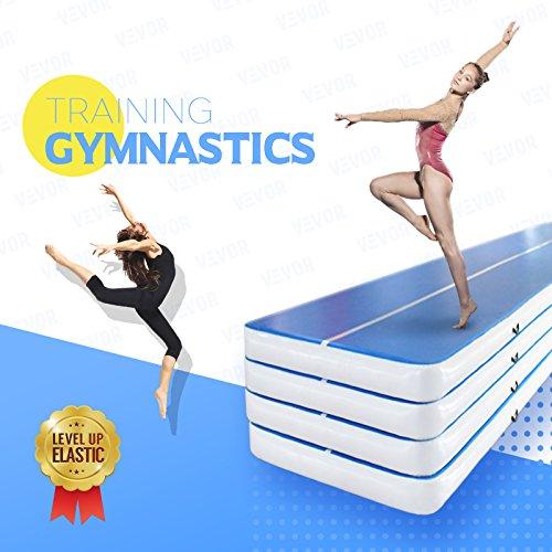 Happybuy Inflatable Gymnastics Tumbling Mat Air Tumbling Track Air Floor Mat for Home Use/Cheerleading/Beach/Park (Blue, 2X10X0.2M)