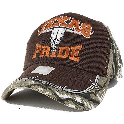 Skull Horn Camo (Trendy Apparel Shop Texas Pride Ox Skull Embroidered Camo Adjustable Baseball Cap - Brown CAMO)