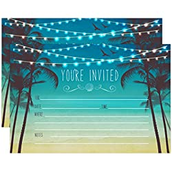 Beach Palm Tree Invitations, Nautical Invitations, Rustic Elegant invites for Wedding Rehearsal Dinner, Bridal Shower, Engagement, Birthday, Bachelorette Party, Baby Shower Invites
