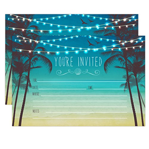 Beach Palm Tree Invitations, Nautical Invitations, Rustic Elegant invites for Wedding Rehearsal Dinner, Bridal Shower, Engagement, Birthday, Bachelorette Party, Baby Shower (Beach Bachelorette Party Invitations)