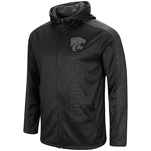 Colosseum Mens Kansas State Wildcats Blackout Full Zip Hoodie - - Zip Kansas