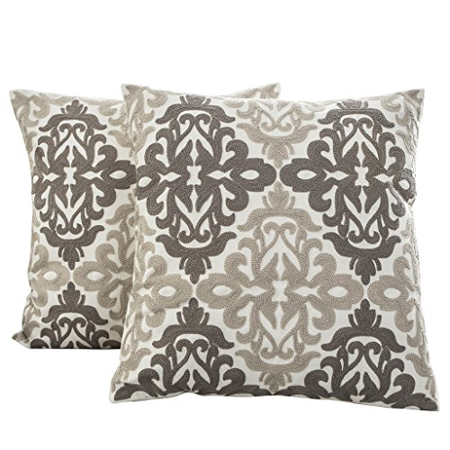 Best Dreamcity Set of 2 Embroidery Cotton Canvas Cushion Covers for Sofa, (18