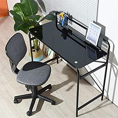 Incroyable Coavas Glass Study Desk Writing Desk Student Laptop Table Computer Desk  With Metal Frame Bedroom Workstation For Home Office  Black TOM 21