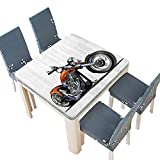 Engine Block Coffee Table PINAFORE Polyester Carto Motorbike Motorcyclist Adventure Racing Powerful Engine Vehicle Linen Cotton Tablecloths for Kitchen Room 49 x 49 INCH (Elastic Edge)