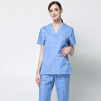 OPPP Ropa médica Uniformes de enfermería de Manga Corta para Hombres, Mujeres, Trajes,