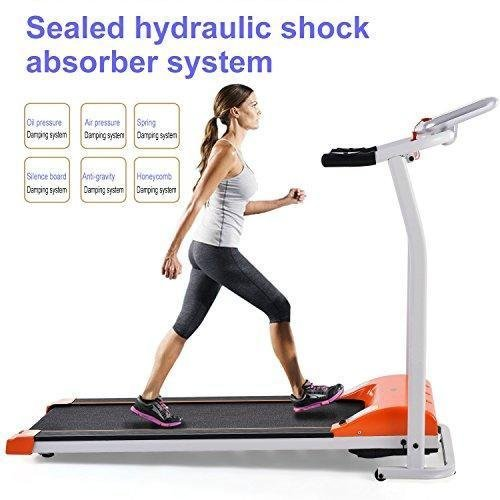 Economical Foldable Exercise Electrical Treadmill at Home Wide Mini Portable Incline Motorized [US STOCK] (Orange)
