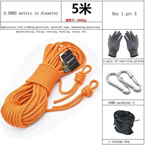 ロープ、8mm の屋外の上昇の補助ロープ、安全耐久のロープ,Orange,30m