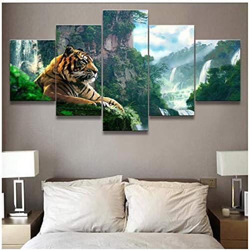 リビングルームHDプリントポスター現代の壁アート絵画5パネル虎と山の滝家の装飾写真-40x60 40x80 40x100cmなし