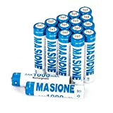 16-Counts MASIONE Rechargeable AAA Batteries Ni-MH, Battery Storage Included