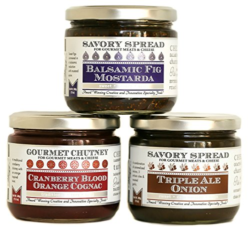 Wozz Kitchen Creations Gourmet Chutneys and Jam Spreads Set of 3 (Net Wt 37.5 OZ) - Triple Ale Onion Spread, Cranberry Blood Orange Cognac Chutney, Balsamic Fig Mostarda Spread - All Natural - Non GMO - Cranberry Mustard Sauce