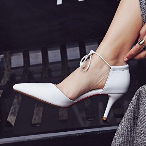 LBDX Apuntada Boca Baja, Tacón Alto, Tacón Hueco, Cuero Genuino, Sandalias Femeninas, Correas Para Los Pies, Zapatos Femeninos Solos Blanco