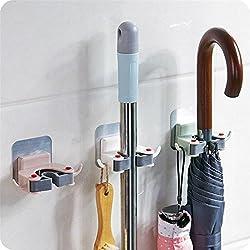 Clearance! Wensltd Mop Broom Holder Wall Mounted Kitchen Garden Tool Rack Garage Storage & Organizer (Green)