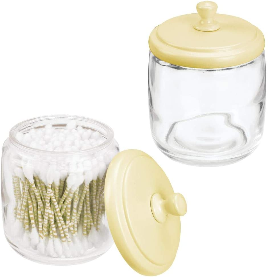 mDesign Bathroom Vanity Glass Storage Organizer Canister Apothecary Jar for Cotton Swabs, Rounds, Balls, Makeup Sponges, Blenders, Bath Salts - 2 Pack, Light Yellow/Clear
