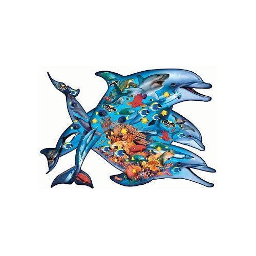 Deep Blau Sea 1000 Piece Shaped Dolphin Puzzle by Sunsout
