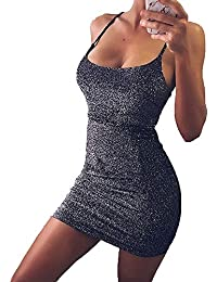 Women's Sexy Glitter Spagetti Straps Lace Up Back Bandage Bodycon Mini Club Party Dress