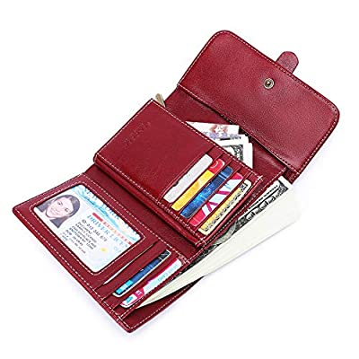 Women's Wallets, Large Capacity with RFID Protection, Genuine Leather by SENDEFN (Short Wallet)