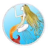 Mermaid Thick Round Beach Towel Blanket | Throw Indian Mandala Tapestry Tassel fringe| Microfiber | Bohemian Circle Style | Oversized Extra Large 60 Inch |Yoga Mat |Table cover (Mermaid 2)