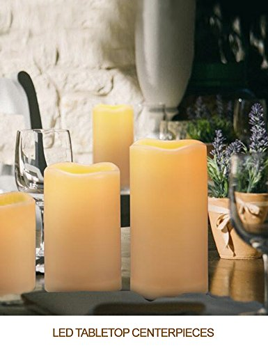 HOME MOST Set of 4 WATERPROOF Outdoor LED Pillar Candles with Remote (IVORY, 3''/4''/5''/6'' Tall, Wavy Edge) - LED Candles Flickering Outdoor Decorative Candles Set - Candle Decor Fake Candles with Timer by HOME MOST (Image #4)