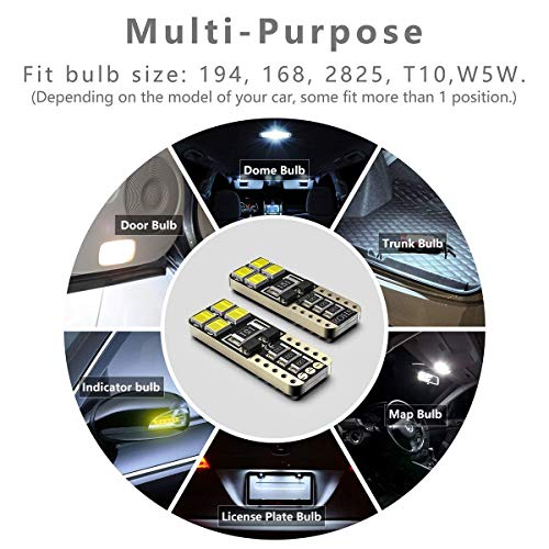 SEALIGHT-194-LED-Bulb-Error-Free-168-T10-2825-W5W-Super-Bright-8SMD-Chipset-Car-Interior-Dome-Map-Courtesy-Trunk-Lights-License-Plate-Marker-Light-Bulbs-6000K-Cool-White-Pack-of-10