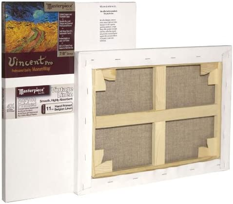 Linen/12.0oz 4X Masterpiece Artist Canvas 42044 Vincent PRO 7//8 Deep 18 x 24 Vintage Acrylic Primed