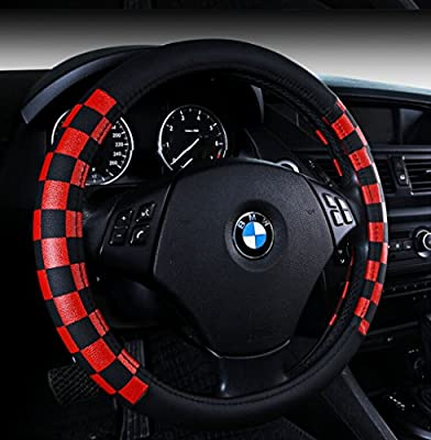 Finex PU Leather Checker Flag Black & Red Car Steering Wheel Cover