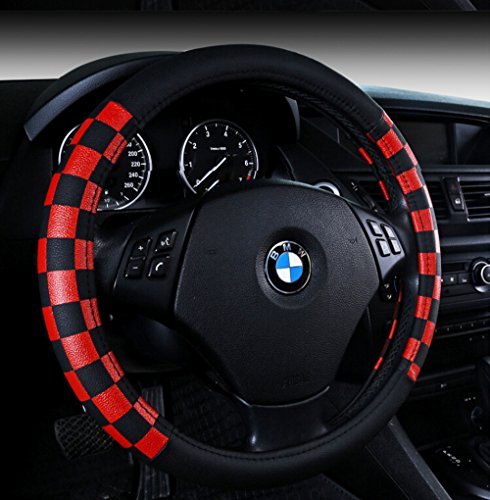 Black Red Leather - Finex PU Leather Checker Flag Black & Red Car Steering Wheel Cover
