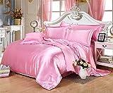 MoonLight Bedding Ultra Silky Soft and luxurious Satin 4-Piece Olympic Queen Bed Sheet Set 15'' deep - Pink