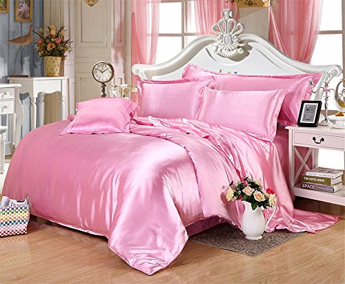 MoonLight Bedding Ultra Silky Soft and luxurious Satin 4-Piece Olympic Queen Bed Sheet Set 15'' deep - Pink by MOONLIGHT BEDDING