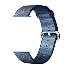 Smart Watch Band, Uitee Newest Woven Nylon Band for Apple Watch Series 38mm 1 & 2 , Comfortably Light With Fabric-Like Feel Wrist Strap Replacement with Classic Buckle (Midnight Blue Woven Nylon)