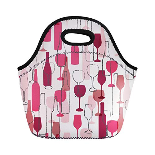- Semtomn Neoprene Lunch Tote Bag Watercolor Cabernet Wine Bottle and Wineglass Pattern Colorful Red Reusable Cooler Bags Insulated Thermal Picnic Handbag for Travel,School,Outdoors,Work