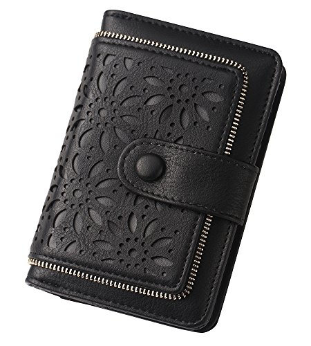 Leather Ladies Medium Wallet - Women RFID Blocking Vintage Organizer Wallet for Ladies Small Purse with Multi Card Holder