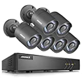 ANNKE CCTV Camera Systems 8Channel 1080P Lite H.264+ DVR and (6) 1280TVL Outdoor Fixed Weatherproof Bullet Cameras, Email Alert with Snapshots, QR Code Scan to Remote View, NO HDD