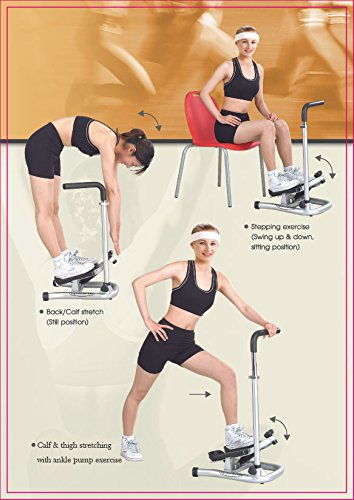 GUNBELL Mini Fitness Step Machine Pro Leg Exercise Workout Stepper Muscles Calf Stretcher Home Health Sport Training Gym with Adjustable Handle Bar, Flexible Stretch level & LCD Display, Black