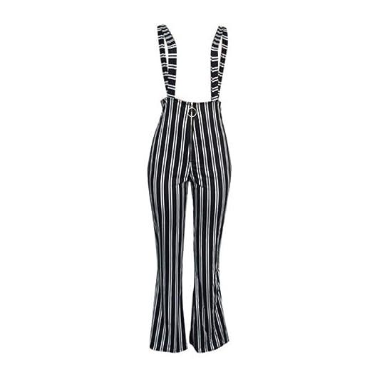 0009962bd767 EYIIYE Women High Waist Striped Suspender Flared Pants Overalls Zipper  Front Wide Leg Jumpsuit (S